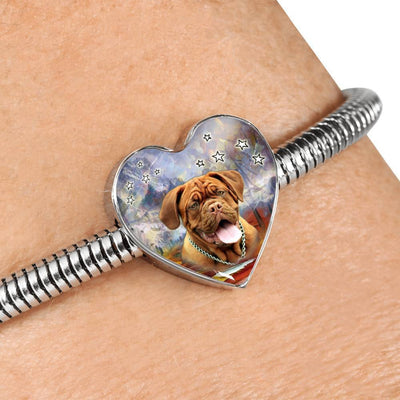 Dogue De Bordeaux Print Heart Charm Steel Bracelet-Free Shipping