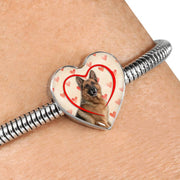 German Shepherd Print Heart Charm Steel Bracelet-Free Shipping
