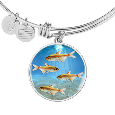 Glowlight Tetra Print Circle Pendant Luxury Bangle-Free Shipping