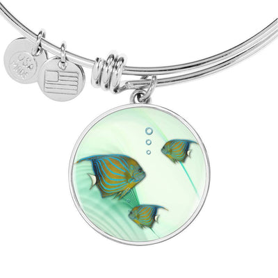 Angelfish Print Circle Pendant Luxury Bangle-Free Shipping