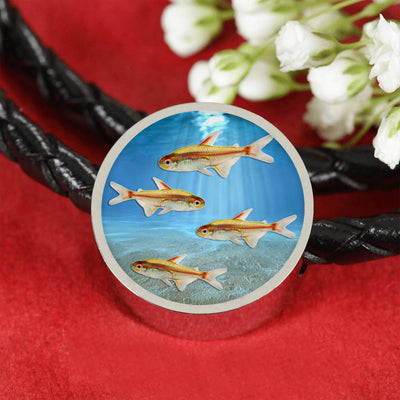 Glowlight Tetra Fish Print Circle Charm Leather Bracelet-Free Shipping