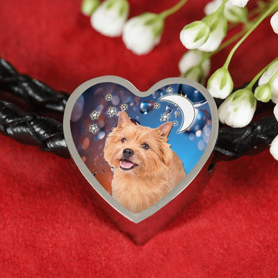 Norwich Terrier Print Heart Charm Braided Bracelet-Free Shipping