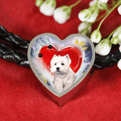 West Highland White Terrier Print Heart Charm Braided Bracelet-Free Shipping