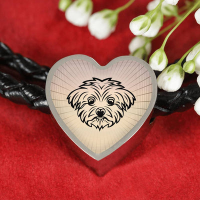Maltese Dog Vector Art Print Heart Charm Leather Woven Bracelet-Free Shipping