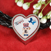 Labrador Retriever Texas Print Heart Charm Leather Bracelet-Free Shipping