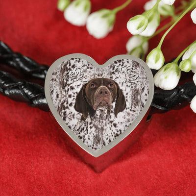 German Shorthaired Pointer Print Heart Charm Leather Bracelet-Free Shipping