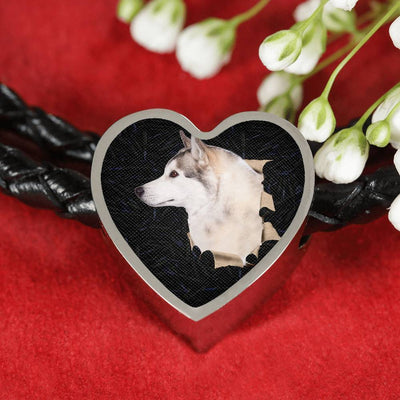 Siberian Husky Dog 3D Print Heart Charm Leather Woven Bracelet-Free Shipping