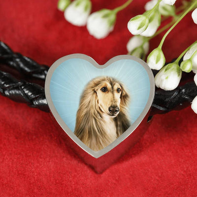 Afghan Hound Dog Print Heart Charm Leather Bracelet-Free Shipping