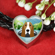 Basset Hound Dog Vector Print Heart Charm Leather Woven Bracelet-Free Shipping