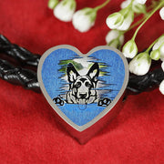 German Shepherd Dog Black Art Print Heart Charm Leather Woven Bracelet-Free Shipping