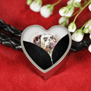 Dalmatian Dog Art Print Heart Charm Leather Woven Bracelet-Free Shipping