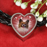 Papillon Dog Print Heart Charm Leather Bracelet-Free Shipping