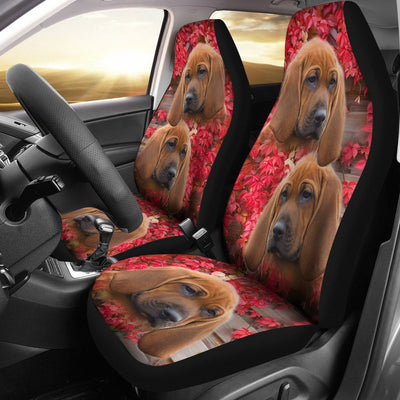 Redbone Coonhound On Flower Print Car Seat Covers-Free Shipping