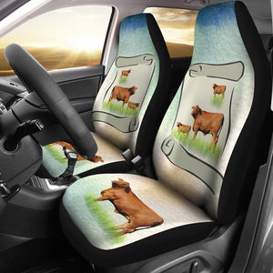 Hand Crafted Red Brangus Cattle (Cow) Print Car Seat Covers-Free Shipping