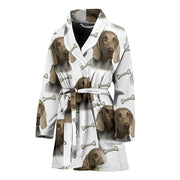 Weimaraner Dog Patterns Print Women's Bath Robe-Free Shipping