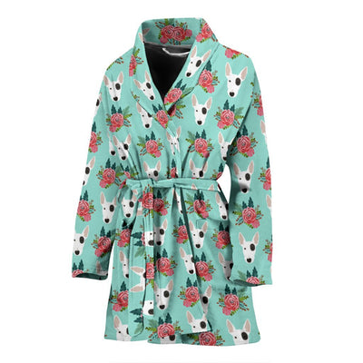 Bull Terrier Dog Floral Print Women's Bath Robe-Free Shipping