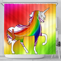 Multicolor Unicorn Print Shower Curtain-Free Shipping