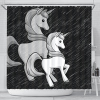 Black-White Unicorn Print Shower Curtain-Free Shipping
