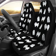 American Eskimo Dog Pattern On Black Print Car Seat Covers-Free Shipping