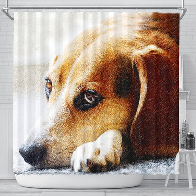 Beagle Dog Art Print Shower Curtains-Free Shipping