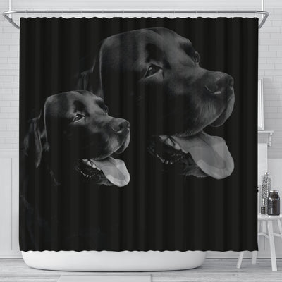 Black Labrador Dog Print Shower Curtain-Free Shipping