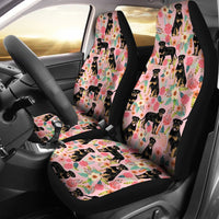 Rottweiler Dog Floral Print Car Seat Covers-Free Shipping