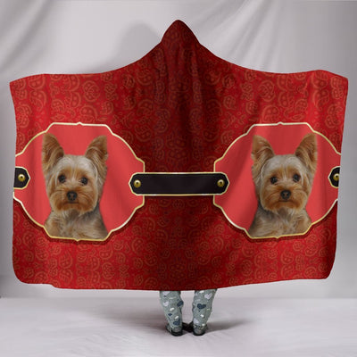 Yorkshire Terrier (Yorkie) Print On Red Hooded Blanket-Free Shipping