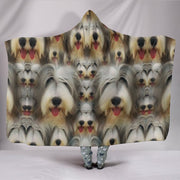 Bearded Collie Dog Lots Print Hooded Blanket-Free Shipping