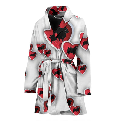 Norfolk Terrier In heart Print Women's Bath Robe-Free Shipping