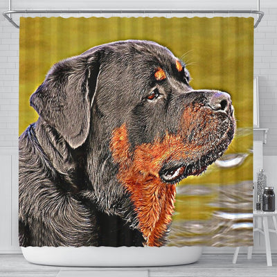 Rottweiler Dog Art Print Shower Curtains-Free Shipping