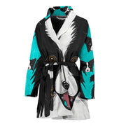Border Collie Dog Art Print Women's Bath Robe-Free Shipping