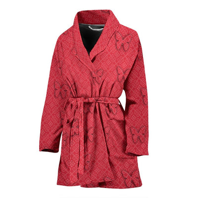 Butterfly Print On Red Women's Bath Robe-Free Shipping