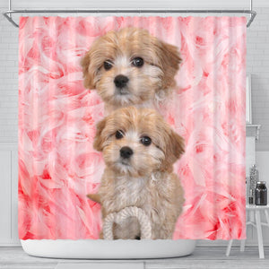 Cavapoo On Pink Print Shower Curtains-Free Shipping
