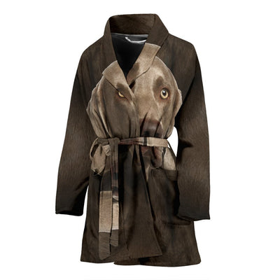 Amazing Weimaraner Dog Print Women's Bath Robe-Free Shipping
