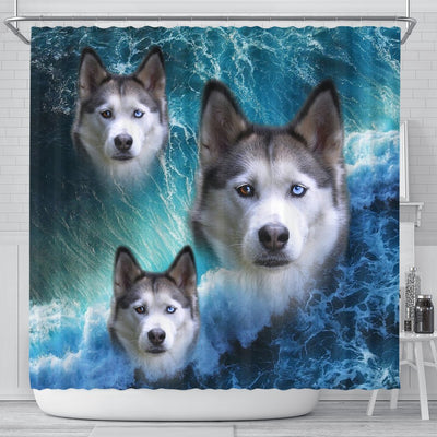 Siberian Husky On Ocean Print Shower Curtains-Free Shipping