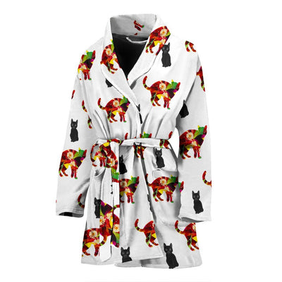 Colorful Cat Patterns Print Women's Bath Robe-Free Shipping