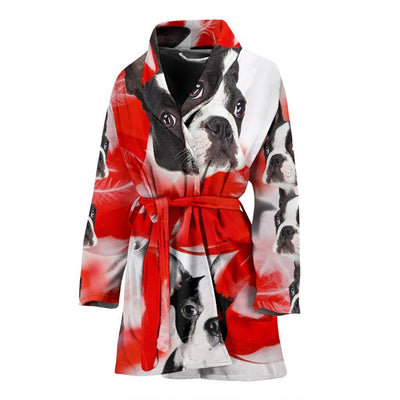 Boston Terrier On White Print Women's Bath Robe-Free Shipping