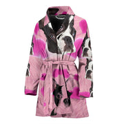 Boston Terrier On Pink Print Women's Bath Robe-Free Shipping
