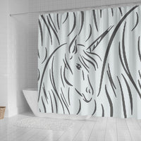 Amazing Unicorn Sketch Print Shower Curtain-Free Shipping