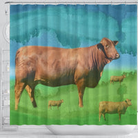 Cute Beefmaster Cattle (Cow) Print Shower Curtain-Free Shipping