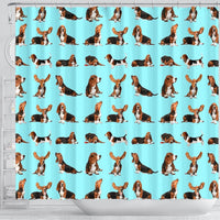 Basset Hound Dog Pattern Print Shower Curtains-Free Shipping