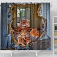 Djungarian Hamster 3D Print Shower Curtains-Free Shipping