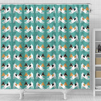 Toy Fox Terrier Dog Hearts Pattern Print Shower Curtains-Free Shipping