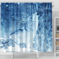 Snowy Wolf Print Shower Curtains-Free Shipping