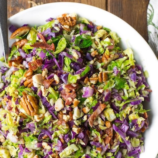 Shredded Brussels Sprouts + Cabbage Salad with Cranberries, Pecans and Biodynamic Roasted Squash