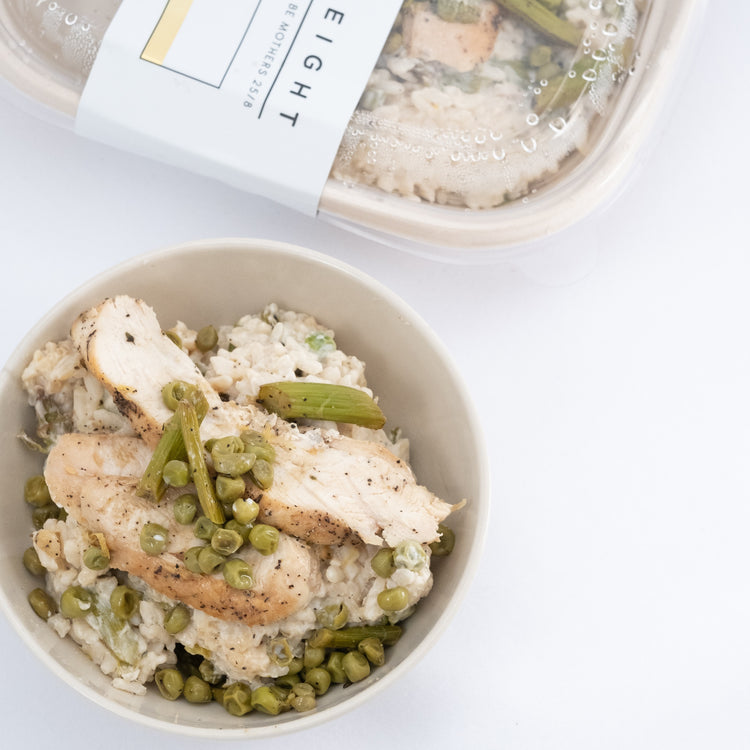 Pastured Chicken and Vegetable Risotto + Grilled Asparagus