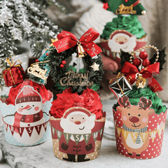 Assorted 3d christmas cupcake liners