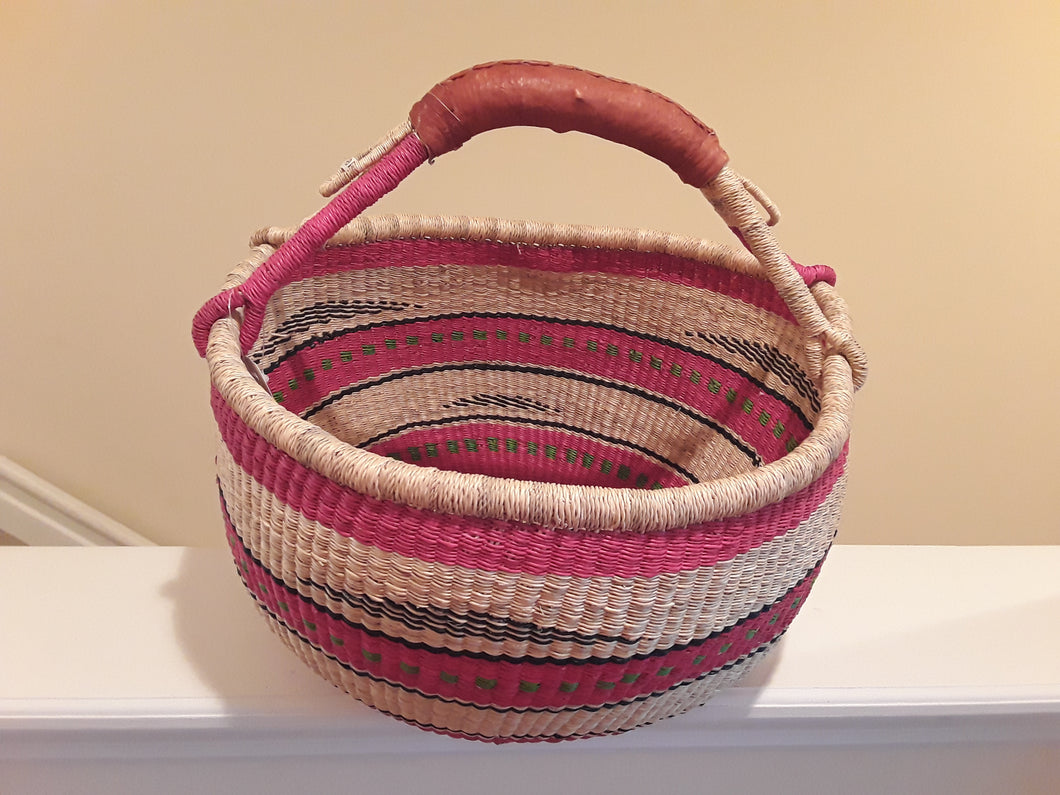 Home Fair Trade Large Round Bolga Basket with Leather Handle