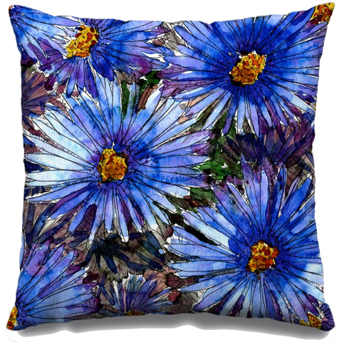 Blue Asters Fall Throw Pillow