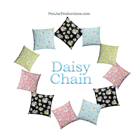 Daisy Print Throw Pillows by PenJarProductions.com